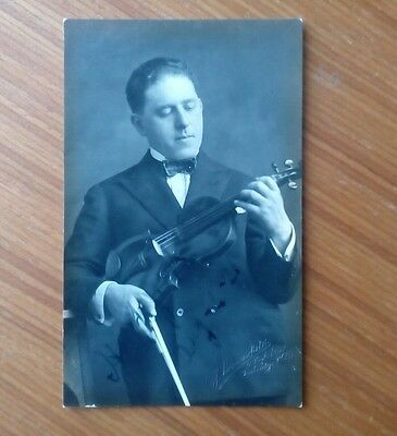 Vintage* Gentleman with Violin and Bow. Imprinted C.J. Summerfield. Real Photo