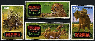 ZAMBIA, SC 77-80, 1972 Wildlife issue, set of 4. MNH. CV $3.75. SG 168-171