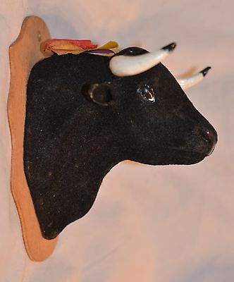 Vintage Flocked Spanish Bull  Head Wall Mount Faux Taxidermy