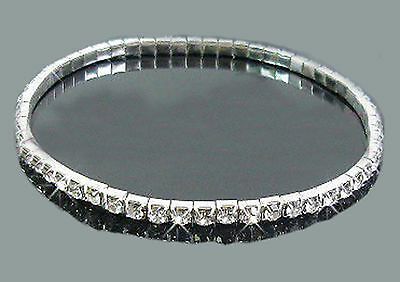 Single Row Crystal Stretchy Anklet Silver 23Cm Un-Stretched Uk Seller