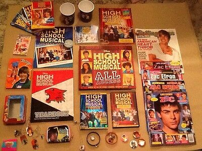 Large Lot High School Musical Wallet Jewelry Books And 2 DVDs Movies