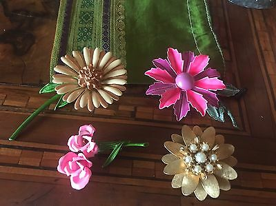 Rare! 60 Lot Flower Brooches 4 Spille Fiore Anni 60 Vintage