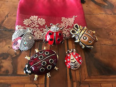 Lot Lady Bug Brooches 4 Spille + 1 Ring Anello Coccinella Vintage & Modernist