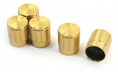 5Pcs Gold Tone Volume Control Knob For 6mm Knurled Shaft Potentiometer