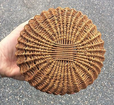 """Vintage SWEET GRASS BASKET small  5.75"""" round woven Native American?"""