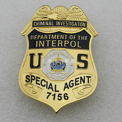 Us Department Of Interpol Badge Metal Props Collection Badge