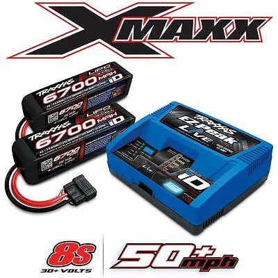 NEW Traxxas X-Maxx 8S Dual 4S Battery & EZ-Peak Live ID Charger Combo FREE SHIP