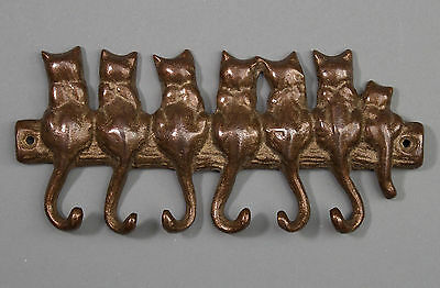 Vtg Brass Cats Key Holder - Wall Mount - Row of 7 Cats on Fence, Tails are Hooks