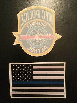 NY Highway Police InWindshield Decal & 1Flag Blue Line Bump Stick **See Choice D