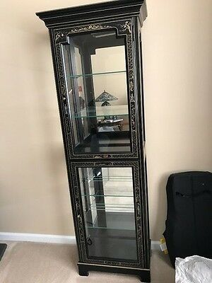Vintage Asian Black Lacquer Hand-Painted Lighted Display Cabinet