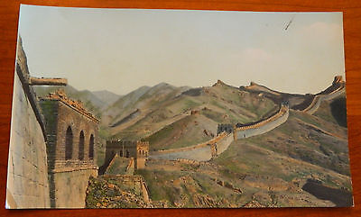 """Antique Hand Colored Tinted Photo Great Wall of China 6"""" x 10"""" Rare & Very Nice"""