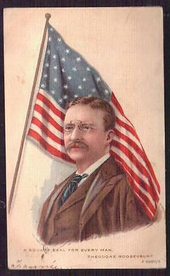THEODORE ROOSEVELT 'Square Deal for Every Man' Postally Used 1907 Postcard