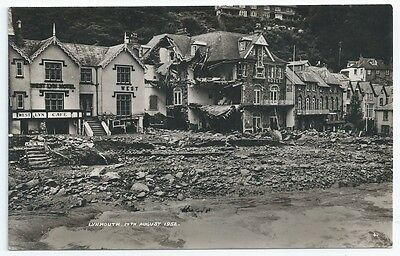 LYNMOUTH Flood Damage Destroyed Hotels Unused Real Photo Postcard 1952