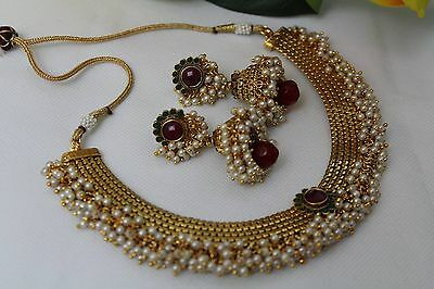 Bollywood Style Ethnic Indian Pearl Jewellery Necklace Set Jhumki Jhumka 120