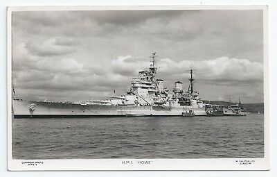 HMS HOWE King George V class Battleship Royal Navy Unused Real Photo Postcard