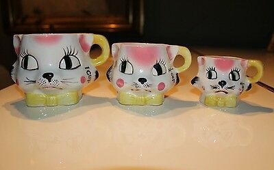 VINTAGE 50's 3 TILSO KITTEN KITTY CAT MEASURING CUPS - 1CUP - 1/2CUP - 1/4CUP