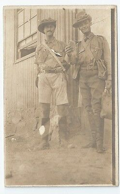 Pre-WW1 ? Boer War ? Soldiers Slouch Hats Kit Biscuit Unused Real Photo Postcard