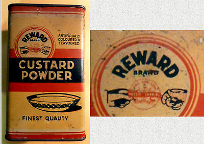 "Rare  Vintage Australian ""Rewards"" Brand Custard Powder Tin. Highly Collectible"