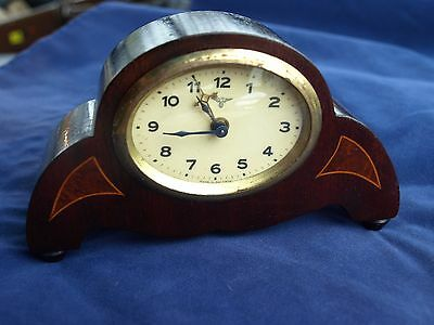 Antique Friedrich Mauthe Wooden Alarm Mantle Clock 1920's