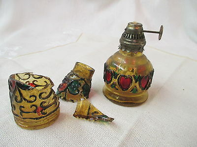 Vintage Hong Kong glass miniature Oil Lamp stained glass design Hearts