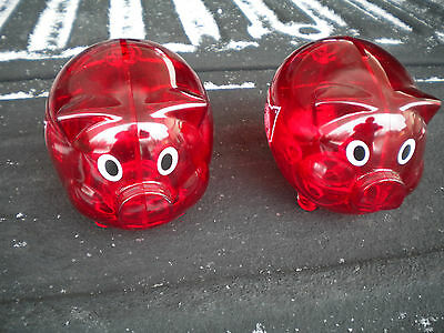 NEW Red Plastic PIGGY Bank Coin Money Savings Toy Cash Safe Box Oil Co. Logos