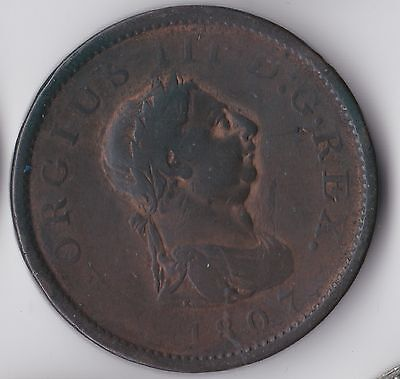 George III, Early Milled One Penny 1807, Fair, M4163