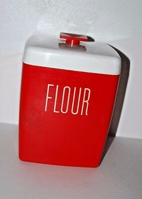 Flour Canister Red White Vintage Kitchen Farmhouse Decor Display Retro Container