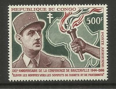 CONGO  ~ 1966 BRAZZAVILLE CONFERENCE 22nd ANNIVERSARY (MINT MH) DE GAULLE