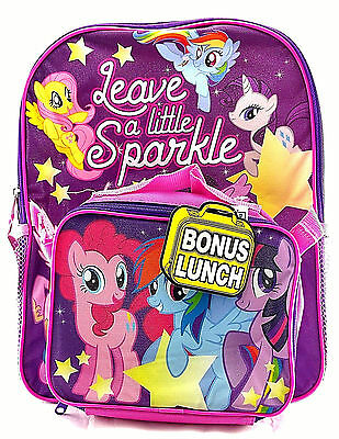 """My Little Pony 16"""" Canvas Pink & Purple School Backpack w/Detachable Lunch Bag"""