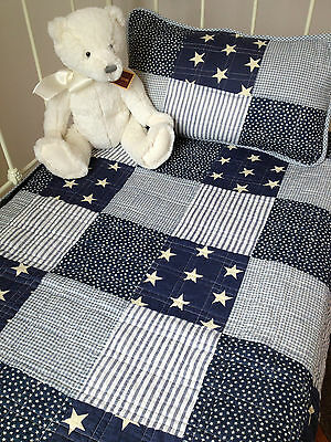 2 pce Angads Baby Boys Twinkle Cot Coverlet Quilt & Cushion Nursery Bedding Set