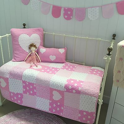 6 pc Baby Girls Lucy Pink Patchwork Cot Quilt Nursery Crib Bedding Package
