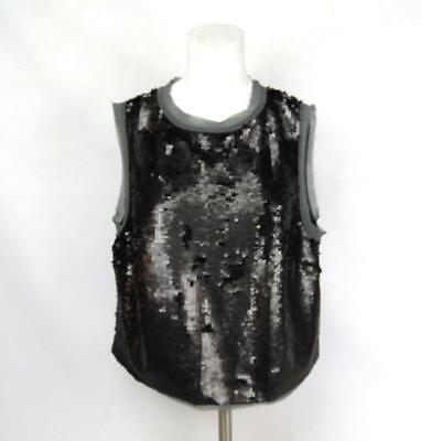 219bd9cd46a759 New WHO WHAT WEAR Women's Gray Black Sequins Layered Sleeveless Size X Shirt