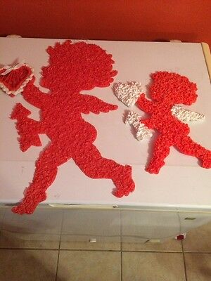 Pair Vintage Melted Plastic Popcorn Valentines Day Decor Cupid Hearts