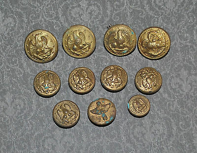 Vintage Military Buttons Eagle With Anchor and Wings & Prop Brass