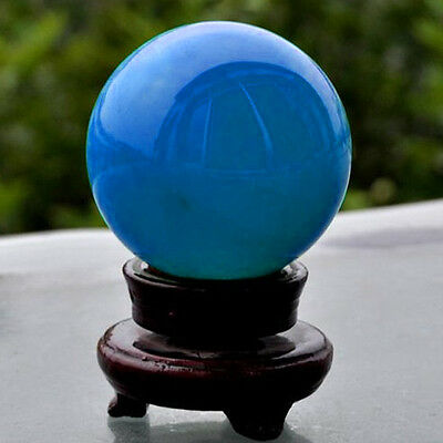 Blue Luminous Quartz Crystal Sphere Ball Glow In The Dark Stone W/ Plastic Base