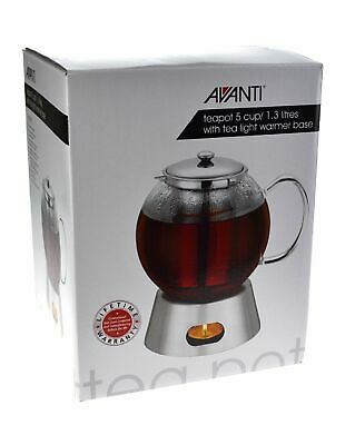 NEW AVANTI GLASS TEAPOT WITH TEALIGHT WARMER Tea Pot Base 5 CUP 1.3 LITRES