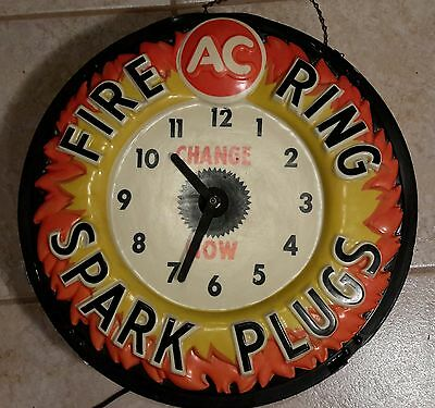 Vintage Fire Ring AC Spark Plug Advertising-Clock