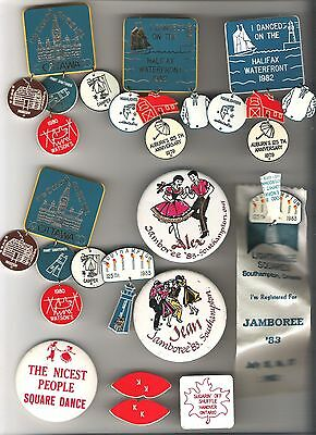 Lot of Canadian Square and Round Dancing Buttons pins bolos - as shown