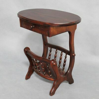 Mahogany Wood Magazine & Newspaper Rack Antique Reproduction Style Side Table