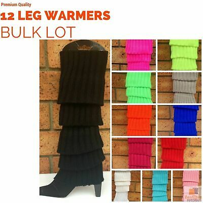 12x LEG WARMERS Knitted Womens Costume Neon Dance Party Knit 80s BULK New