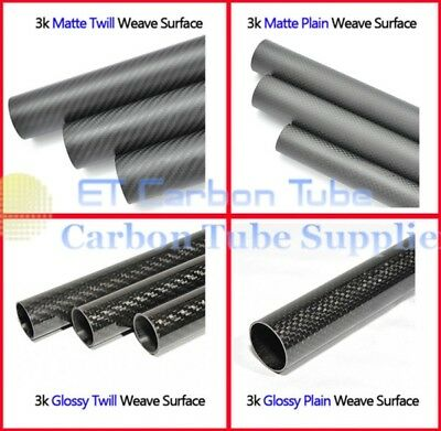 Roll OD 25mm x ID 22mm x 500mm Length 3K Carbon Fiber Tube Pipe (Roll Wrapped)