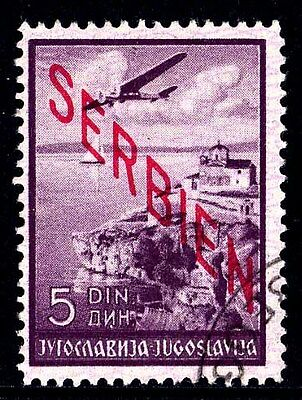 Serbia Sc. 2NC5, 1941 5d Airmail Pictorial, Overprinted, Used, F-VF.