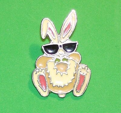 Vintage Large Funny Bunny Rabbit Wearing Sunglasses Silver Tone Lapel Pin France