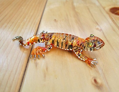 Handmade Lizard Art Glass Blown Reptiles Animal Figurine