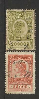 BRAZIL ~ circa 1919-22 REVENUE STAMPS (USED)