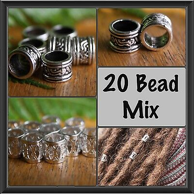 20 Bead Mix 10 Tibetan Silver+10 Metal Silver 8mm (5/16) Dreadlock Hair Beads