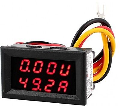 Sourcingmap DC 0-30V 0-100A Red LED Dual Digital Display Voltmeter Ammeter Meter
