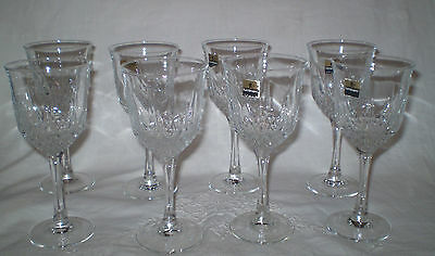 Unused Set Of 8 Sparkling Crystal Made In Spain Luminarc Stemmed Wine Glasses