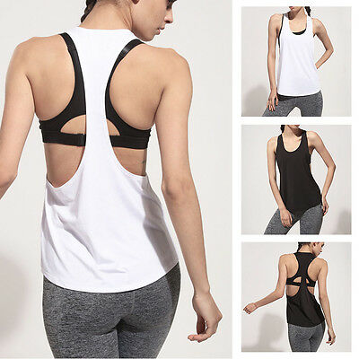 Sports Yoga Vest Ladies Tank Top Stretch Workout Jogging Cool Fitness Gym Run