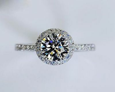 2ct Off White Moissanite Round Halo Antique Engagement Ring 925 Sterling Silver